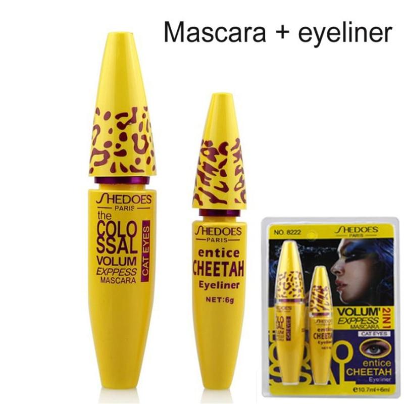 Professional 2 in 1 Eye Makeup Set Eye liner with Leopard Colossal Mascara Black Liquid Eyeliner Waterproof Curling mascara Tool