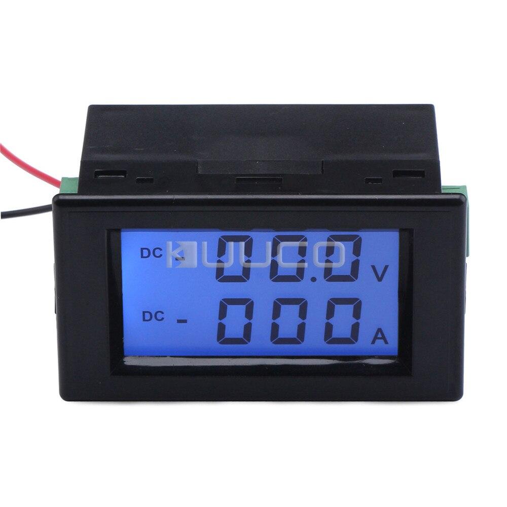0-200V Voltmetro 50A DC Amperometro Shunt Doppio Digitale LCD Display da Panello