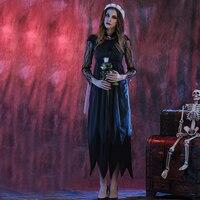 M L XL Ladies Bloody The Walking Dead Zombie Black Bride Horror Halloween Fancy Dress Costume