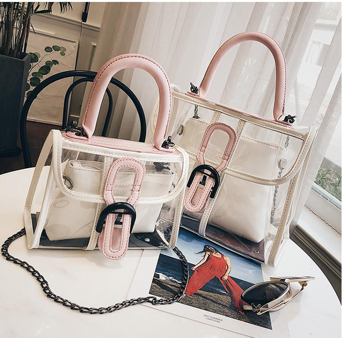 Summer Fashion Women Transparent PVC Handbag Sweet Lady Jelly Clear Plastic Beach Bag Stitching color Shoulder Bags Tote Bag zhierna new summer korean chain single shoulder bag big handbag fashion picture bags women jelly crystal transparent beach bag