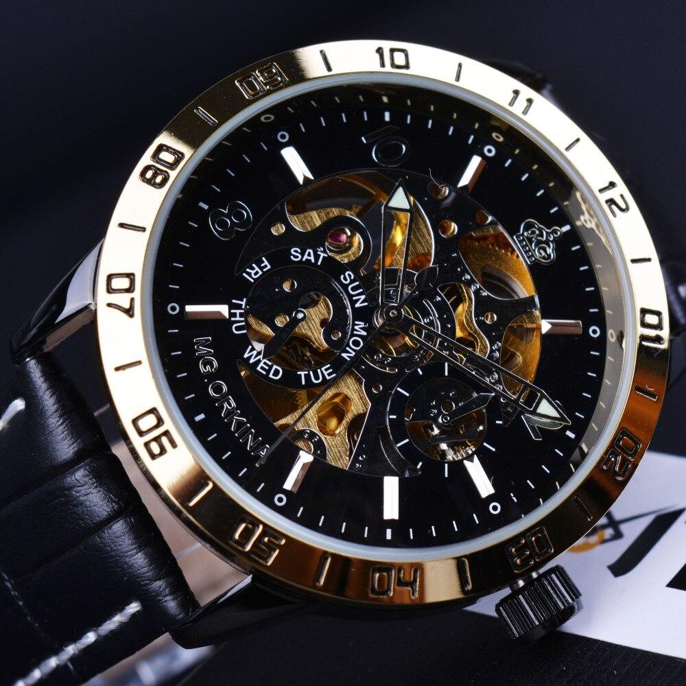 Orkina Royal Carving Skeleton font b Design b font Golden Bezel Men Watches font b Top