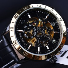 Orkina Royal Carving Skeleton Design Golden Bezel Men Watches Top Brand Luxury Automatic Watch Mechanical Relogio Gold Watch Men