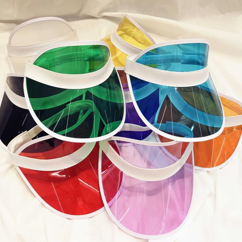 Женская и мужская летняя прозрачная Солнцезащитная шляпа унисекс, из ПВХ, с прозрачным верхом и козырьком, карамельные цвета, оптовая продажа