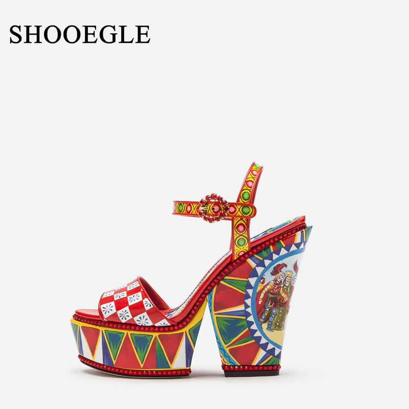 Newest Colorful Printing High Heel Sandals Woman Patent Leather Platform Sandals Chunky Heel Ankle Strap Womens Summer ShoesNewest Colorful Printing High Heel Sandals Woman Patent Leather Platform Sandals Chunky Heel Ankle Strap Womens Summer Shoes