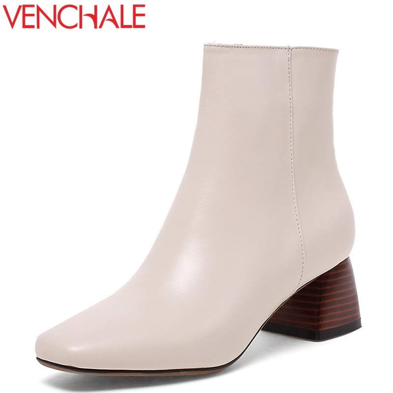 VENCHALE women fashion ankle boots ladies genuine leather square heel black beige 2 color plus si soft leather winter shoes 2017 new fashion lace up women boots genuine leather square heel black autumn winter sexy brand ladies ankle boots women shoes