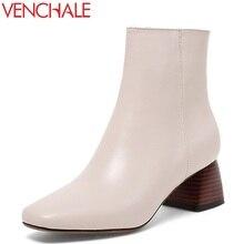 VENCHALE women fashion ankle boots ladies genuine leather square heel black beige 2 color plus si soft leather winter shoes