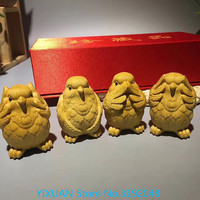 Boxwood Four Golden Rooster sculpture in wood do not stay Meng Da adorable chicken ornaments hand pieces four golden gifts.