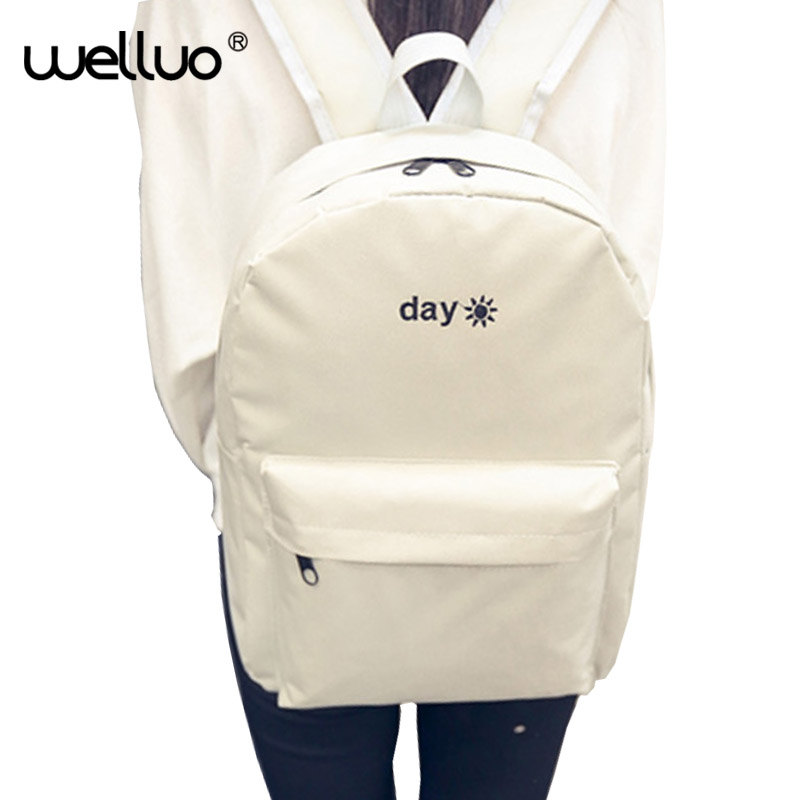 Fashion Day and night Embroidery lovers Backpacks Canvas Men Women School Bag For Teenagers Student Book