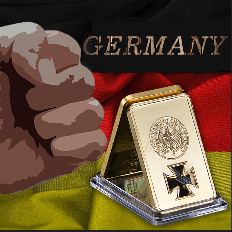 Deutsche Reichsbank Germania 24k oro placcato bar capsula replica barra d'oro Germania personalizzato come collezione di regali