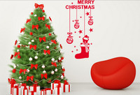 2016 Merry Christmas Window Glass Wall Sticker Hanging Gift Stocking Xmas Wall Background Sticker Removable Drop