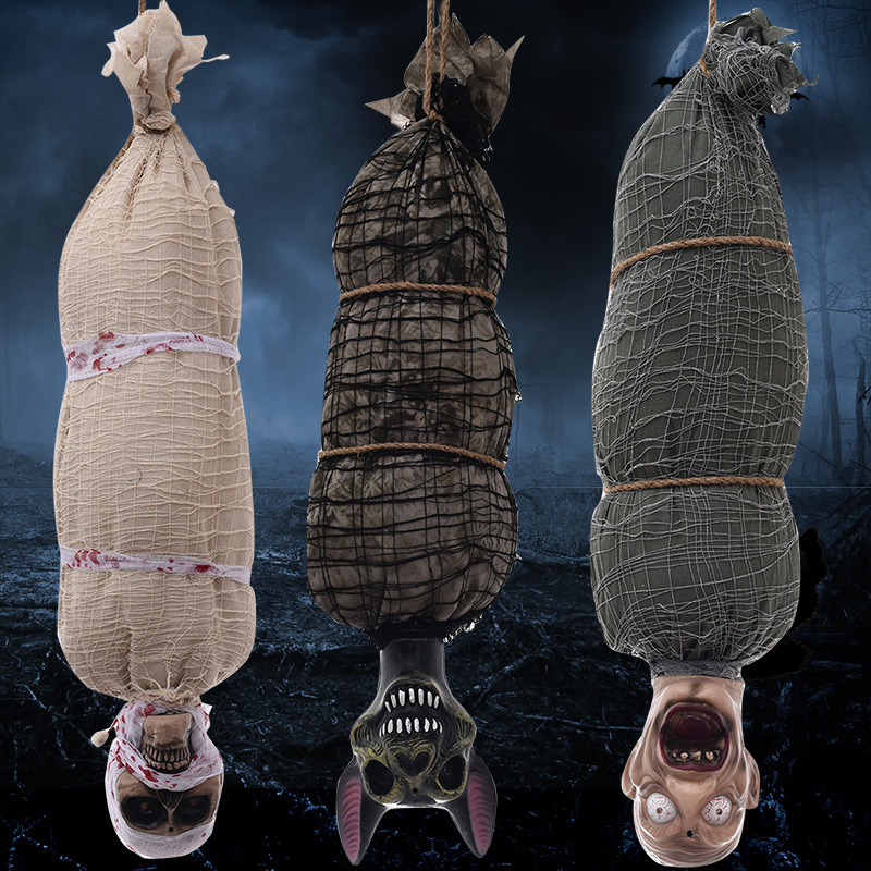 Halloween Horror Hanging Ghost Haunted House Horror Props Decoration Induction Sound Control Mummy Body Pendant Scare Props