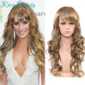 Sexy women wigs ombre natural hair heat resistant synthetic wigs high quality long curly wig blonde wig cosplay Party Pelucas