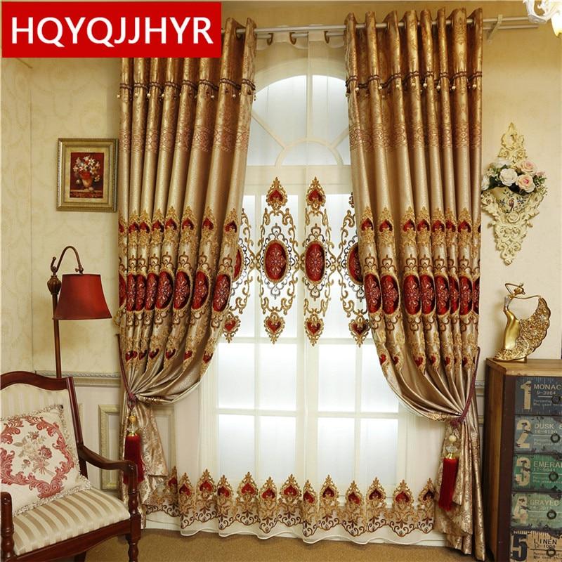 Eiropas klasiskās luksusa villas aptumšošanas dekoratīvie aizkari dzīvojamā istabā, kas ir lieliski aizkari virtuves logu aizkaru guļamistabā