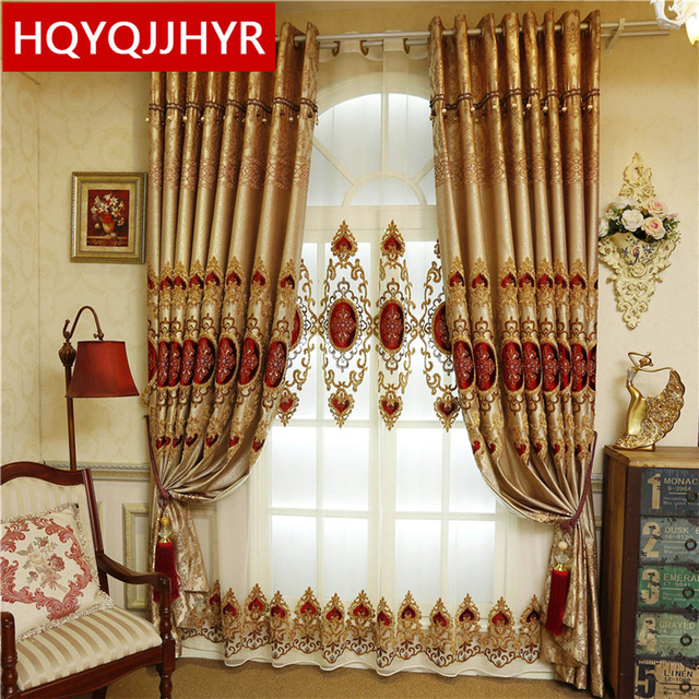 European Classic Luxury Villas Blackout Decorative Curtains For Living Room  Sheer Curtains For Kitchen Window Curtain