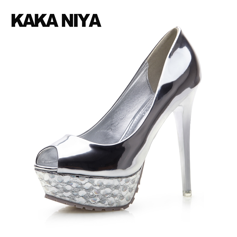 Sexy Gun Color Silver Platform Women Shoes High Heels Ultra Pumps Metal Patent Leather 4 34 Small Size Fish Mouth Scarpin 2017 цены онлайн