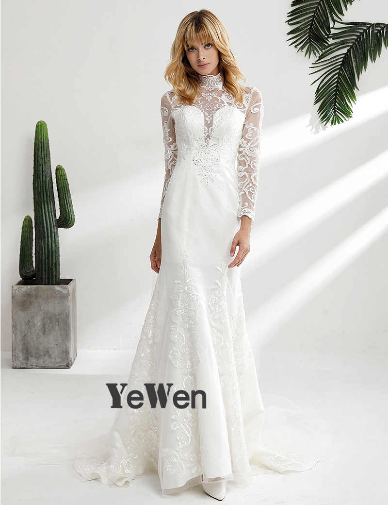 6e14055d77 ... YeWen Vintage High Neck Lace Wedding Dresses 2018 Long sleeves ivory  mermaid wedding Gown outdoor vestidos ...