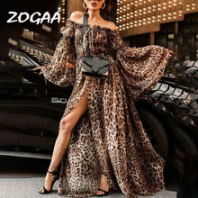ZOGAA Women Leopard Print Summer Dress 2019 Sexy Slash Neck Split Maxi Long Evening Party Dresses Casual Vestidos Plus Size XXXL
