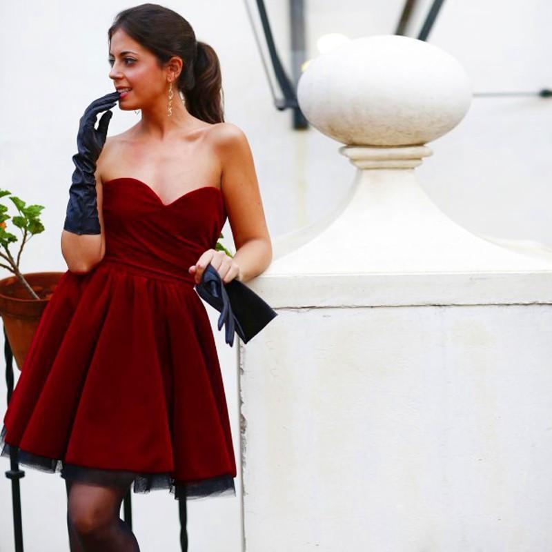 2016New arrival Prom Short Dresses For Homecoming Party Girls Ballkleider Pleated Burgundy Gown Velvet Prom Dresses 3
