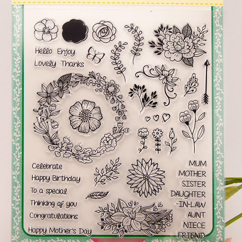 flowers Clear Silicone Rubber Stamp for DIY scrapbooking/photo album Decorative craft clear stamp chapter T0030 free shipping party cake clear silicone stamp for diy scrapbooking photo album decorative craft