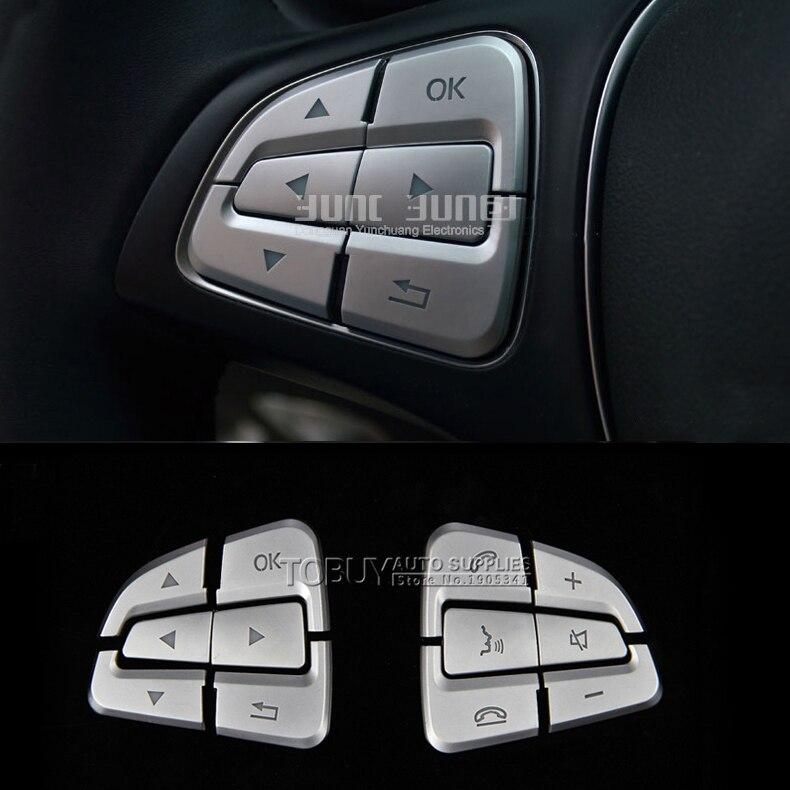 DEE ABS Accessoires pour la voiture pour Mercedes-Benz VITO 2016 Boutons du volant intérieur Interrupteur Garniture Bande de Chrome Brillant Autocollants