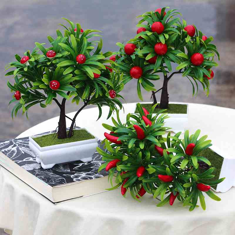 Garden style simulation fruit tree Small potted plants of greeting pine plants Indoor small bonsai flowers|plants indoor|plant plants|plant pot - title=