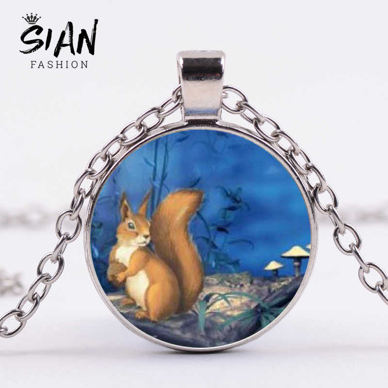 SIAN Small Animal Squirrels Necklace Chipmunk Cartoon Print Handmade Glass Cabochon Pendant Necklace for Women Pet Lover Collars