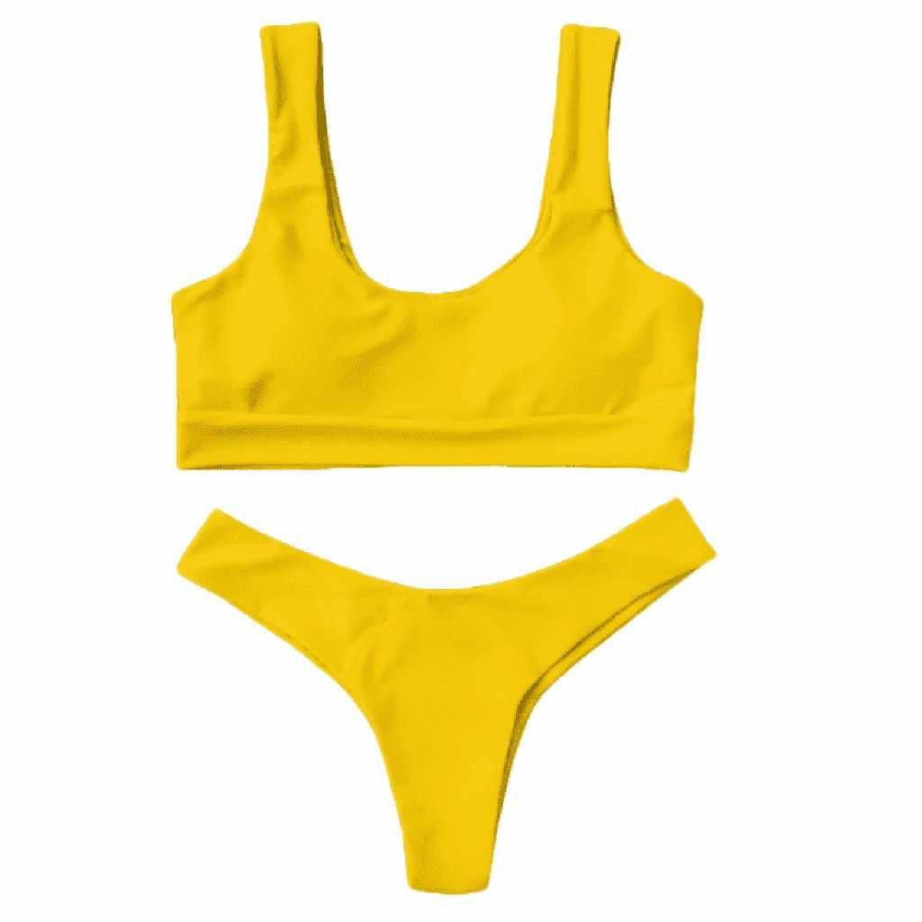 Fashion Wanita Seksi Warna Murni Push-Up Padded Swimsuit Beachwear Dua Sepotong Bikini, Biquini, Zaful, Mujer
