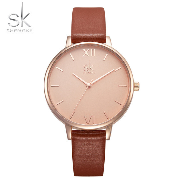 Shengke Femmes Montres De Luxe Marque Montre-Bracelet En Cuir Femmes Montre Dames De Mode Quartz Horloge Relogio Feminino Nouveau SK