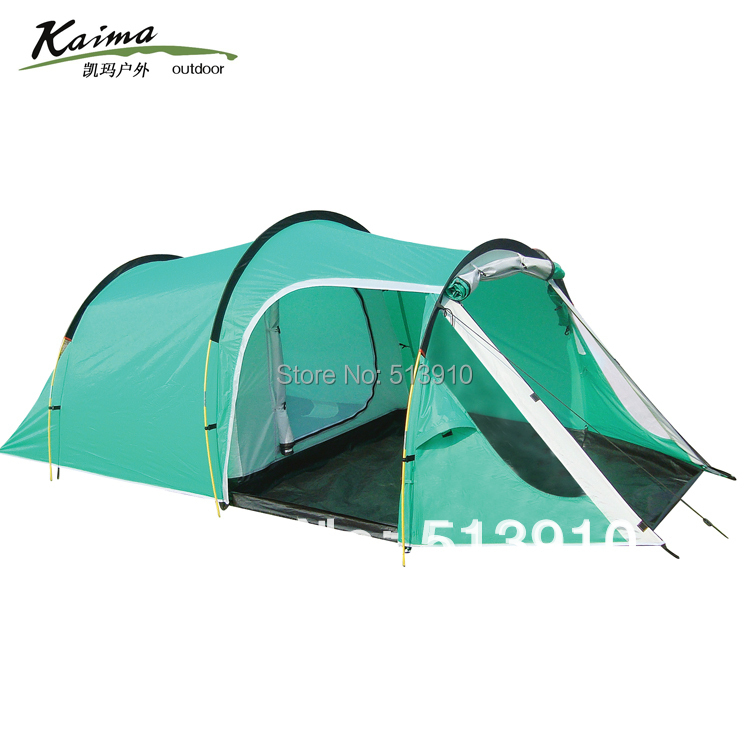 Kaima 3-4persons one bedroom & one living room double layer family and party camping tent tunnel outdoor travel camping tent 2015 new style high quality double layer untralarge one hall one bedroom family party camping tent