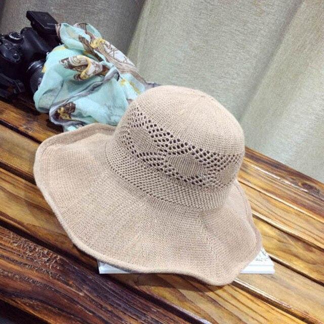 Navegante femenina Estilo Ahueca Hacia Fuera El Verano de Ala Ancha Plegable Sombrero de Sun Beach Caps Mujeres Transpirable Ronda Bucket Bowler Sombrero de Paja