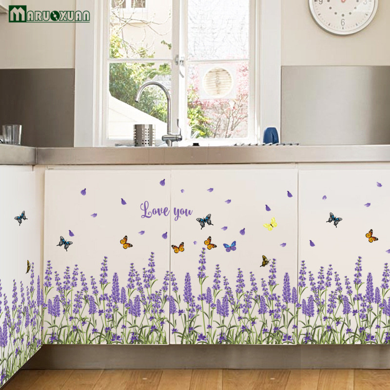 New Purple Lavender Butterfly Combination Sticker Skirting Kitchen Bathroom Bedroom Living Room Background Wall Stickers