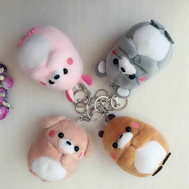 Teddy Bear & Rabbit & Marmot & Dog Keychain Baby Toys 10CM Cute Plush Car Key Holder For Bag Charm Hanging Key Ring Pendant Doll