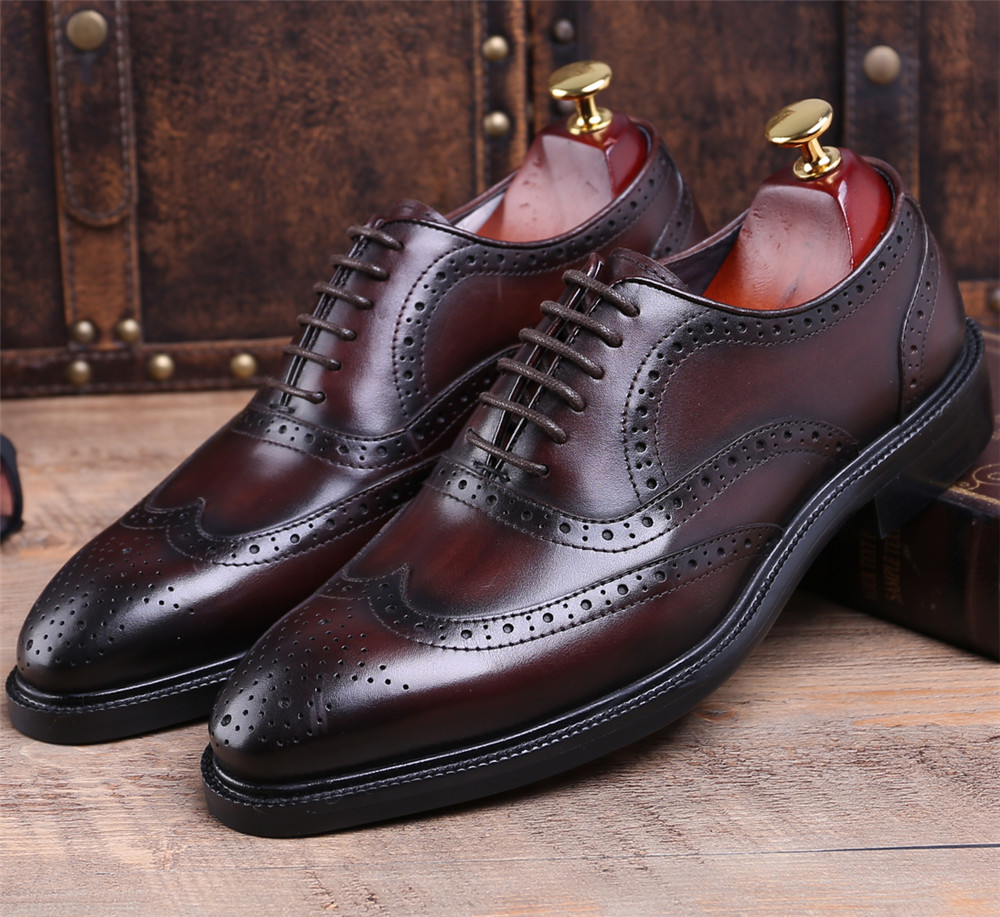 Fashion Brown tan / black Goodyear Welt shoes oxfords mens business shoes genuine leather dress shoes mens wedding shoes