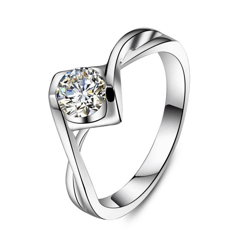 Anillo de compromiso de plata de Carlos y COLVARD de CT, anillo de compromiso S925 de plata, joyería de Color oro blanco, anillo de boda fantástico-in Anillos from Joyería y accesorios    1