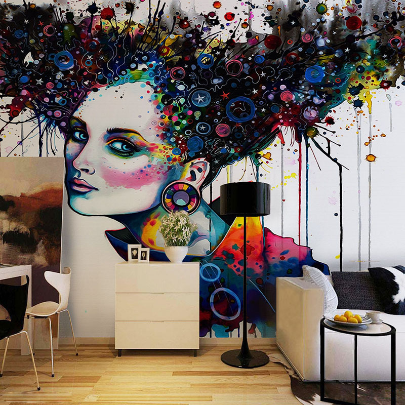 Modern Abstract Exaggeration Color Character Mural Photo Wallpaper Restaurant Clubs KTV Bar Personalized Customization 3D Fresco