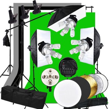 ABESTSTUDIO Photography Studio Light Lighting Tent Kit with 45W Bulb Softbox Bulb 5 Light Socket Cantilever Stick Light Stand