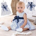 Cute Baby Toddler Top Bow-knot Plaids Dress Outfit Clothes Kids Cotton S M L XL Size