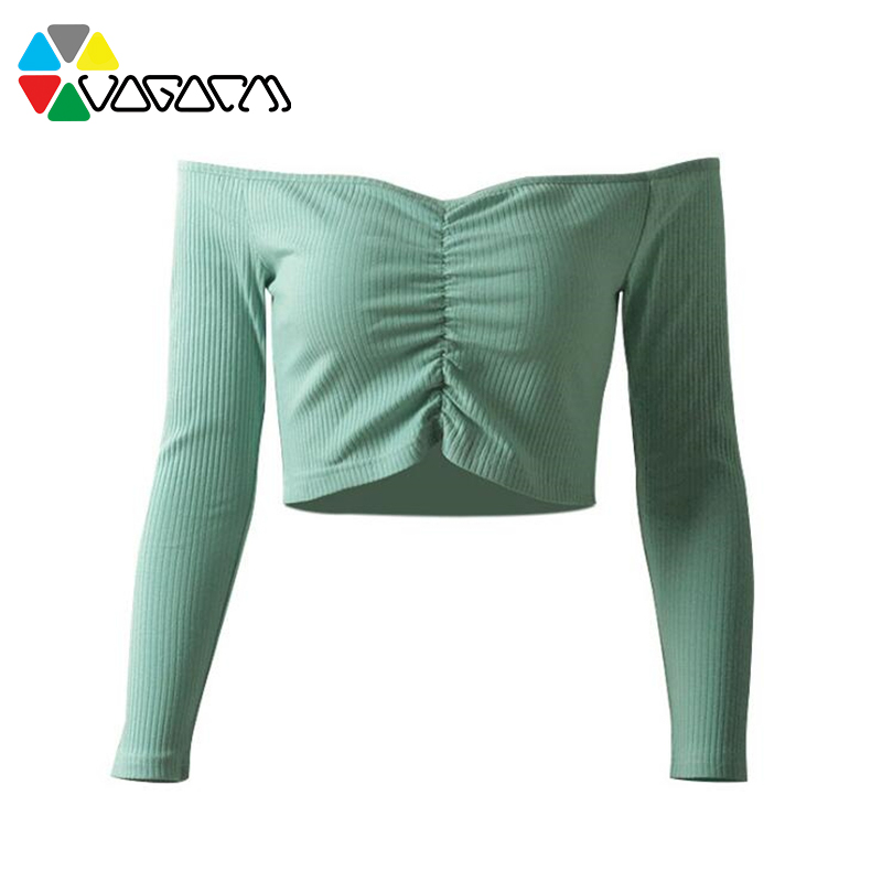 Women 39 s Spring Summer Slash Neck T Shirt Long Sleeve Solid Color Sexy T Shirts Casual Slim Off Shoulder Tops Female in T Shirts from Women 39 s Clothing