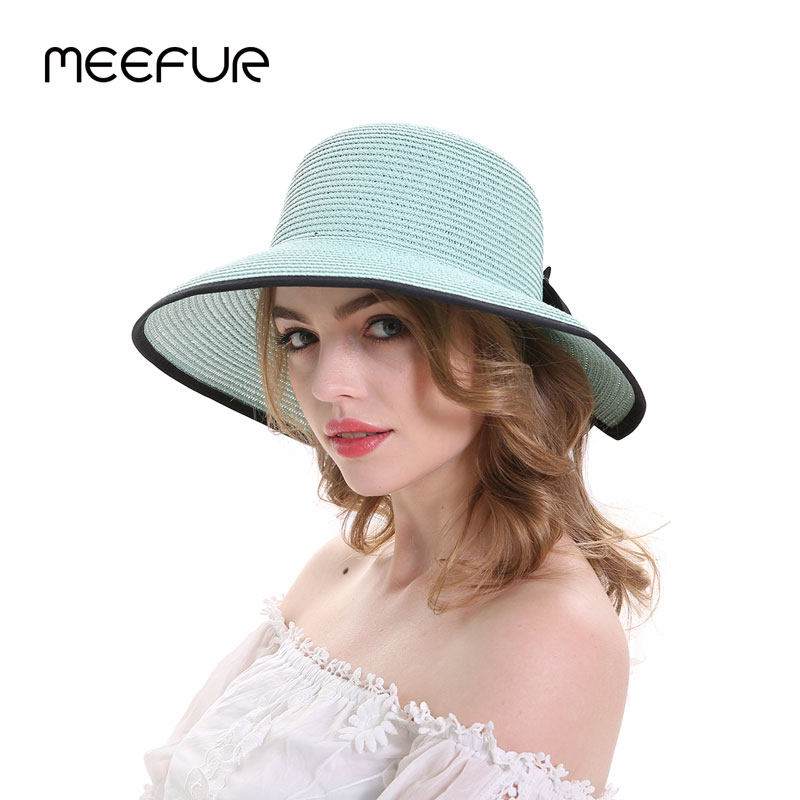 c0e263f0 MEEFUR Brand Summer Sun Hats For Women Large Brim With Ribbons Bow Beach Hat  Cap Ladies Sun Hat UV Protect Travel Cap Ladies