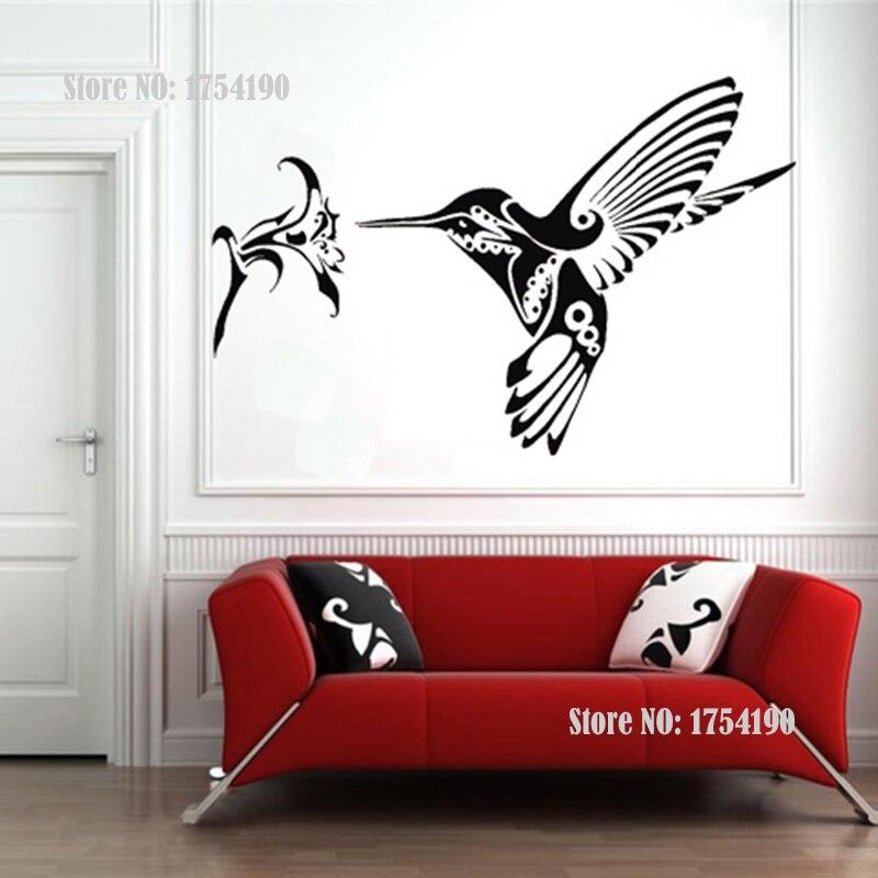 Птица Колибри цветок животных стены Стикеры Home Decor Виниловые Наклейки на стены украшение Фреска Книги по искусству 2 Размеры