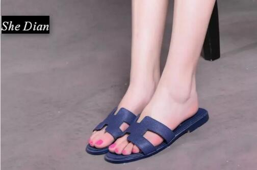 New arrival genuine leather women slippers flat round toe comfortable summer shoes size 35 42 free