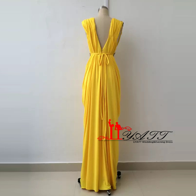 3eb9da287a21 New Collection 2016 Evening Prom Dresses Sexy V neck Yellow Gold African  Spandex Luxury Beads Sexy High Quality LIYATT-in Prom Dresses from Weddings  ...