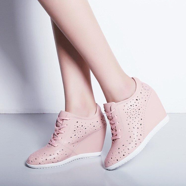 Casual weiß Atmungsaktive Keile Damen Heels Höhe Turnschuhe {zorssar} 2018 Schuhe High Neue Rosa Pumps Zunehmende Frauen Sommer 4qWnavn0f