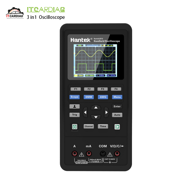 <font><b>Hantek</b></font> 3 in1 Digital <font><b>Oscilloscope</b></font>+Waveform Generator+Multimeter Portable USB 2 Channels <font><b>40mhz</b></font> 70mhz LCD Display Test Meter Tools image
