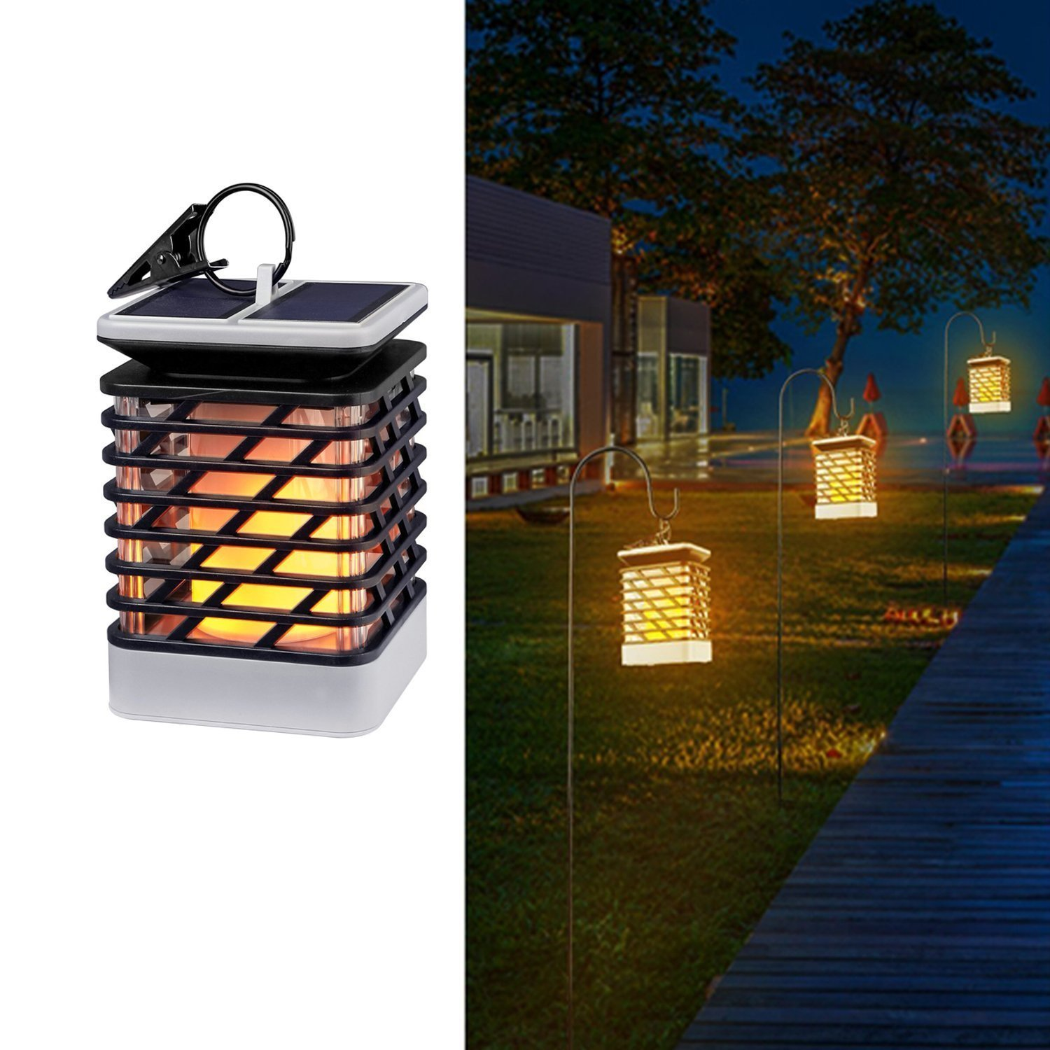 Solar Lights Outdoor Espier LED Flickering Flame Torch Lights Solar Powered Lantern Hanging Decorative Atmosphere Lamp for Pat