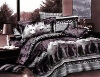 Волк постельного белья Полный простыни 3D животных печати покрывала Доона Одеяло пододеяльник Лен двуспальная простыня спальня