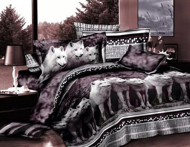 Lenzuola Matrimoniali In 3d.Us 85 0 Lupo Bedding Set Completi Letto Lenzuola 3d Animal Print Doona Trapunta Piumino Biancheria Copertura Copriletti Matrimoniale Queen Size