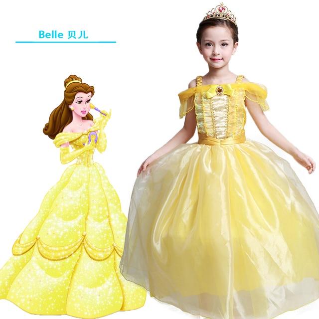 7cf2bd7cdf60 Kids Fair Girls evening dress Long Dresses Belle Cosplay Clothing Christmas  Children Princess bella dress Ball Formal dresses