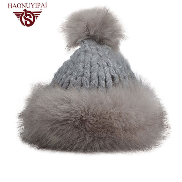 Brand Fashion Style Women's Beanies Hats Thick Cotton Pom Pom Winter Caps Outdoor Ski Snow Solid Lady Skullies Gorros DM02