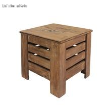 Taburete de madera maciza vintage shabby chic con almacenamiento